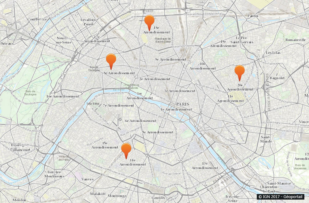 Paris : Carte de nos collaborateurs